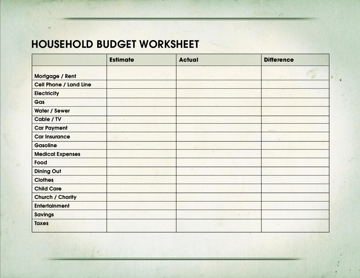 7 Budget Worksheet