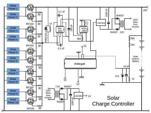 small resolution of the circuit diagram of the solar panel system charge controller is shown in the figure