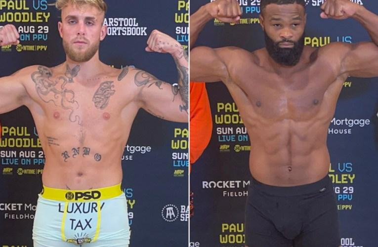 Jake Paul y Tyron Woodley cumplen con peso para mañana