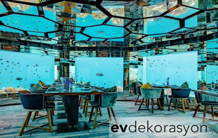 Deniz Altında Lüks Restoran Dekorasyonu