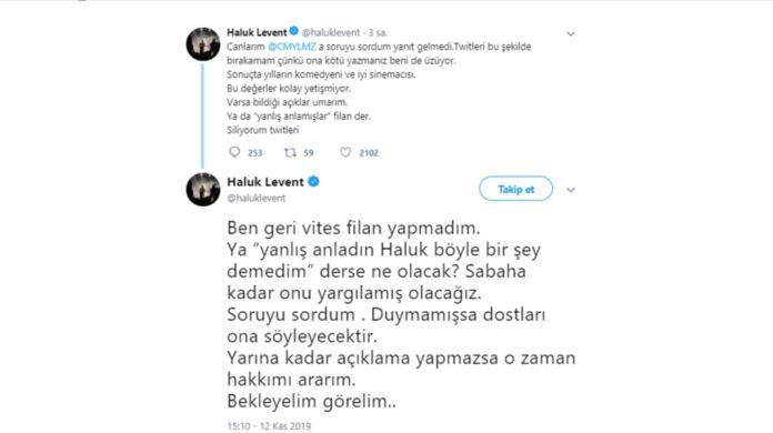 Haluk Levent'ten Cam Yılmaz'a çağrı tweetleri