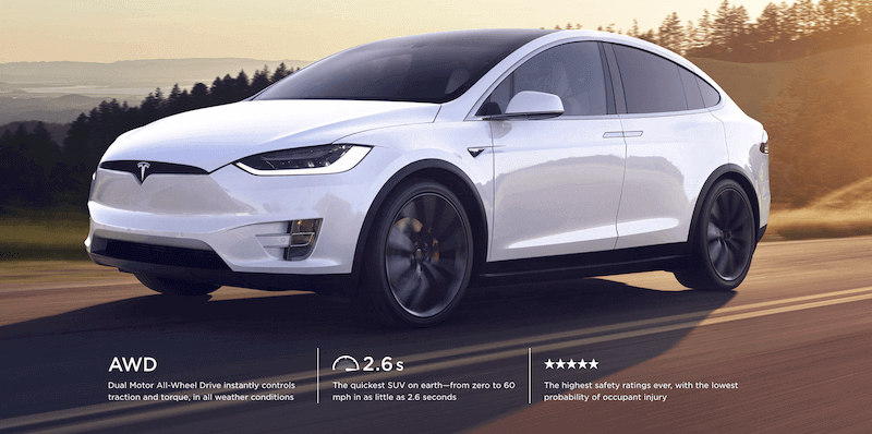 TESLA X High safety & in Top 8 longest electric cars