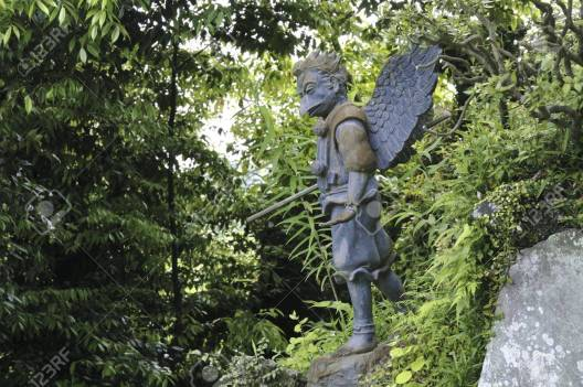 13252189-japanese-bird-like-tengu-sculpture-in-green-forest-from-honsobo-shrine-in-kamakura