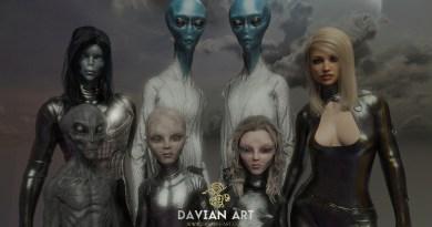 Portraits de Galactiques et êtres de lumière réalisés par Davian