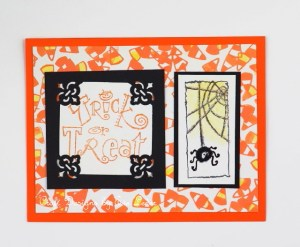 Halloween Spider--FREE budget friendly card making tutorial. The Halloween card features a spider and candy corn.