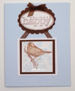 Brown Sparrow Happy Holidays Card
