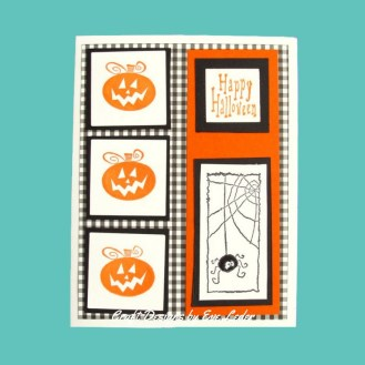 Three Pumpkin Gingham Card — design inspiration for making a Halloween card. It features three pumpkins, a spider and black and white gingham paper.