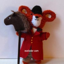 Fox Amigurumi--features a fox dressed in English riding attire and accompanied by his trusted steed.