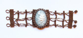 Beaded Cameo Bracelet--wide version--vintage inspired with a modern twist