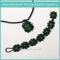 Emerald demi parure beaded jewelry