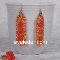 Season-less beaded jewelry--earrings worked in the square stitch and ring worked in the peyote stitch.