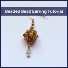Beaded Bead Earring —A FREE beading tutorial on how to transform a beaded bead into an eye-catching earring. Four earring options provided.