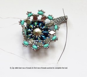 Two-hole bead beaded bezel