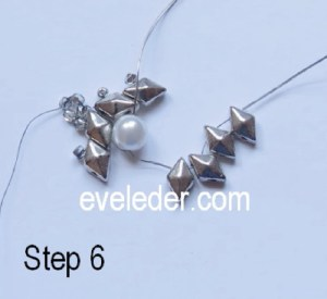 Two hole beads earring pattern--step 6