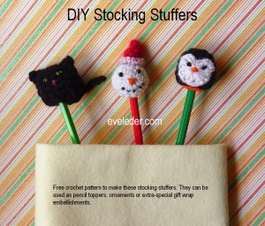 Stocking Stuffers--free crochet pattern for cat, snowman, and penguin