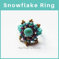 Two Hole Bead Ring Pattern—FREE beaded ring tutorial featuring two types of two hole beads—the Candy bead and the Es-O Mini bead.