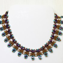 Two-hole DiamonDuo Necklace--pattern featured in Feb/Mar 2017 issue of Beadwork magazine.