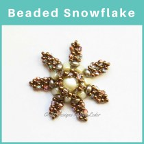 Beaded Snowflake —FREE tutorial. Made with 2-hole Es-O Mini beads,2-hole Candy bead, 3-hole eMMA beads, seed beads, and 2Tiny Fire Polished Beads. Stitches: Peyote and Right Angle Weave.