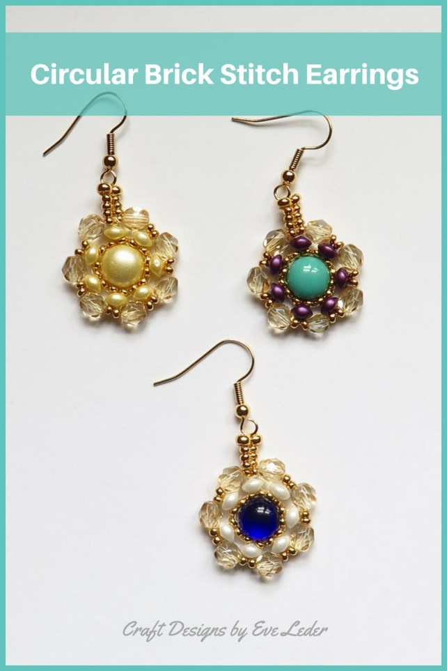 FREE TWO HOLE BEAD PATTERN—Learn how to make these circular brick stitch earrings. This free beading tutorial features two types of two-hole beads--Es-O Mini and Candy.