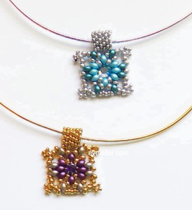 Two Hole Bead Pendant--Free beading pattern. It could be the perfect gift you've been seeking.