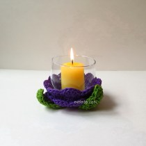 Votive Candle Holder--Free DIY Wedding Project--How to crochet flower votive candle holder