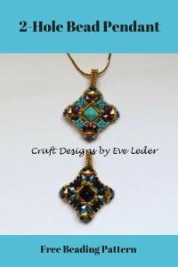Diamonduo bead pendant craft designs by eve leder diamonduo bead pendant free beading pattern featuring the two hole diamonduo bead aloadofball Images