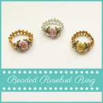 Beaded Rosebud Ring--FREE beading pattern to make this ring created with two-hole beads and seed beads.