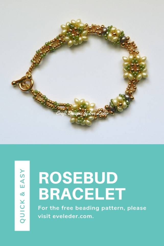 Learn how to make this beaded rosebud bracelet. You will use the two-hole Es-O Mini bead and seed beads.