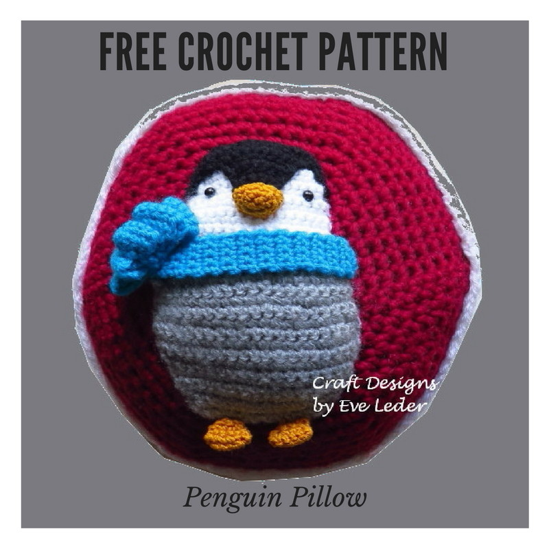 Penguin Pillow--FREE Crochet pattern for an adorable penguin. Make as a gift or for yourself.