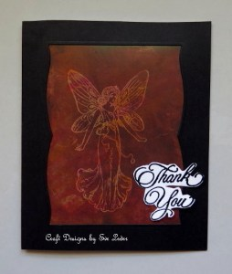 Thank You Note with Fairy Queen Denise--FREE cardmaking tutorial using the stamp and reveal technique.
