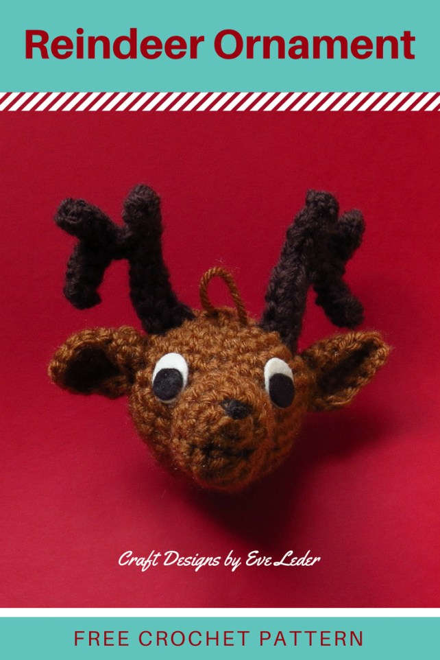 Free Crochet Amigurumi Reindeer Ornament Pattern—Make this as a gift for a tree trimming party or to keep for yourself.