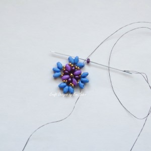 Purple two hole bead earring--Step 6