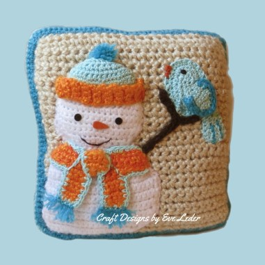 Snowman Pillow With Bluebird Craft Designs By Eve Leder