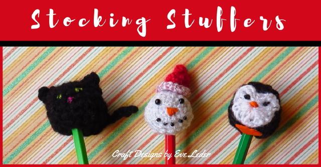 Stocking Stuffers--FREE crochet pattern to make snowman, cat or penguin.