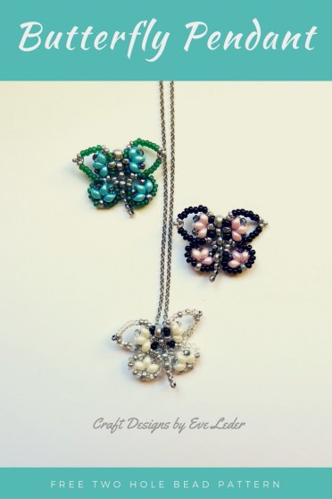 Beaded Butterfly Pendant--FREE two hole bead pattern.