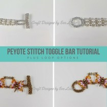 Peyote Stitch Toggle Bar — FREE beading tutorial. Learn how to create a toggle bar clasp that matches your beadwork using seed beads.