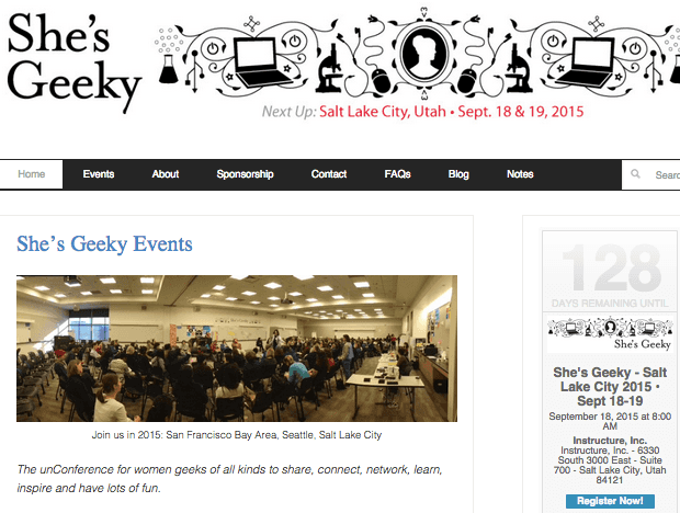 shesgeeky.org website screenshot