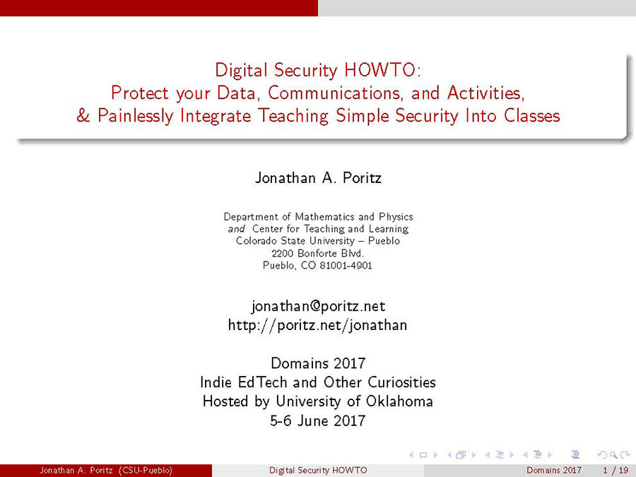 Slide 1, Jonathan Poritz