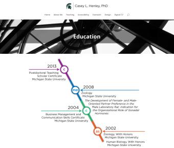 Screenshot from Casey L. Henley's Website