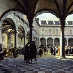 Painting showing people under pillared archways looking into a central quadrangle.