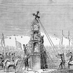 Engraving of men pulling down a stone work cross with ropes