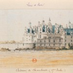 Painting of grand Chateau - white walls with blue roof.
