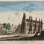 Colour etching of church with people in shade looking on.