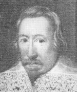 Faded image of man wearing a ruff.