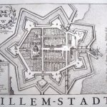 Map of Willemstadt showing church in centre with fortified walls and moat around town