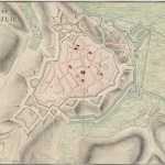 Colour map of montreuil-sur-mer showing town next to river with star shaped citadel.