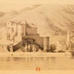 Sepia print of castle beneath mountain.