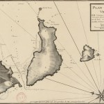 Engraving map showing island close to land sheltering port but with thin passage.