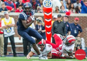 Vince Sanders with a TD reception against ULL. PHOTO CREDIT: Bentley Breland