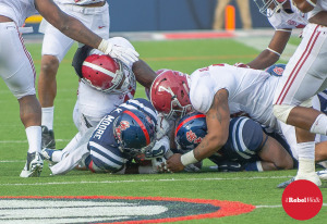 Kailo Moore recovers a fumble against Alabama that led to an Ole Miss TD.